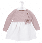 A3409 Pink Knitted & Cotton Dress